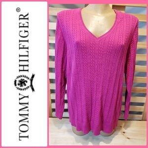 TOMMY HILFIGER HOT PINK CABLE SWEATER
